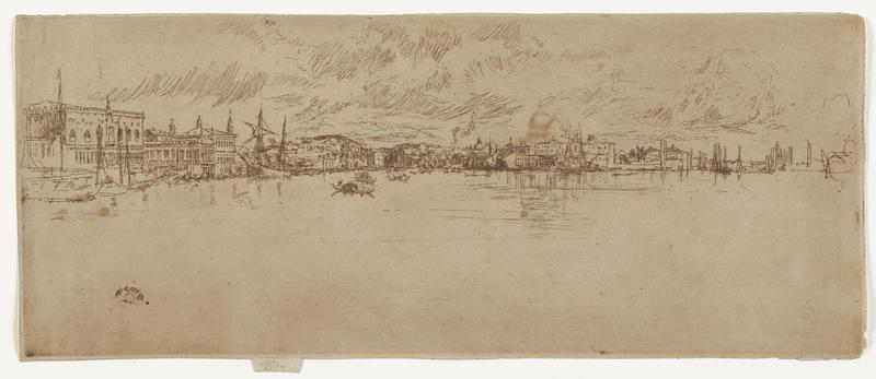 black ink on tan paper; horizontal scape of buildings and boats along water's edge; thin ink lines; buildings recede into distance from left edge of image to right; gondola boat to left of center; thin groups of lines at angles above buildings suggest clouds; small lines indicate water below buildings and boats; lower area of image mostly blank; black circle with line design in water in LL area