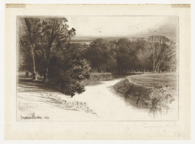 black ink on off-white paper; stream running from center to bottom of image; stream curves multiple times; high banks to sides of stream; on right side, dark trees and brush from midground connecting to trees in background; on left side, trees in background connecting to trees in center; sketched short grass in foreground; sky above trees has horizontal shading lightening toward top of image; small birds above trees in UR area and bird in upper center