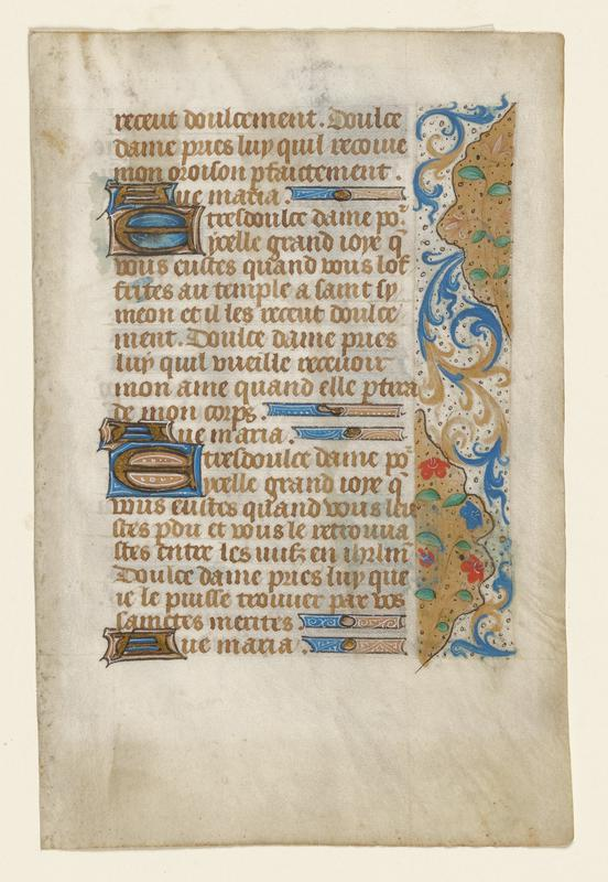 illuminated page; words in a tan script along L side of page; floral arabesque drawn in a thin strip along R side in blue and gold with red details