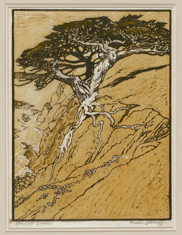 landscape scene in yellow, black and white pigments; steep cliffs on right that descend into body of water with a rocky shore on left edge; single tree, white trunk with full, twisting black branches in center, roots winding downward on cliff's edge; tiny white rocks in LLC and move upward into LRC
