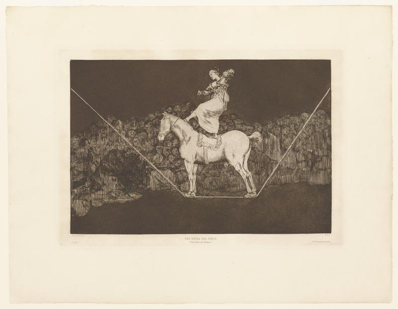 a woman standing on the back of a white horse, which is standing on a tight rope; woman has one foot on the horse's saddle and the other on the horse's neck; dark background with the impression of a crowd across the center