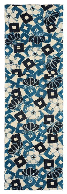 cloth panel with white/ cream background; scattered blue and black squares, with white inner squares; bulbous shapes in groups of three, with blue stylized stems over squares; white floral shapes throughout