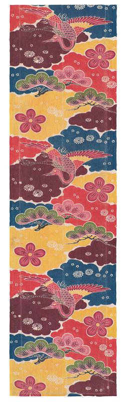 rectangular fragment of multicolored fabric with crane and floral design; design consists of pink cranes with red and yellow feathers flying amidst pink and green trees, large pink flowers and smaller white flowers on a background of blue, red, yellow, and maroon clouds