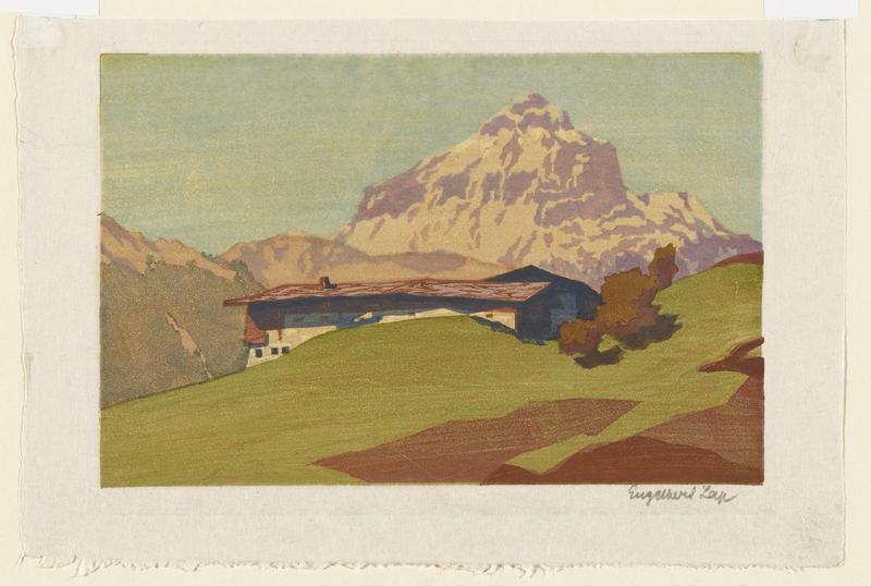 landscape scene with rising mountain in cream and lavender pigments in URQ; house on a hilly landscape in center that is partially obscured by green mound; brown shading in LRC of image; pale blue sky in background