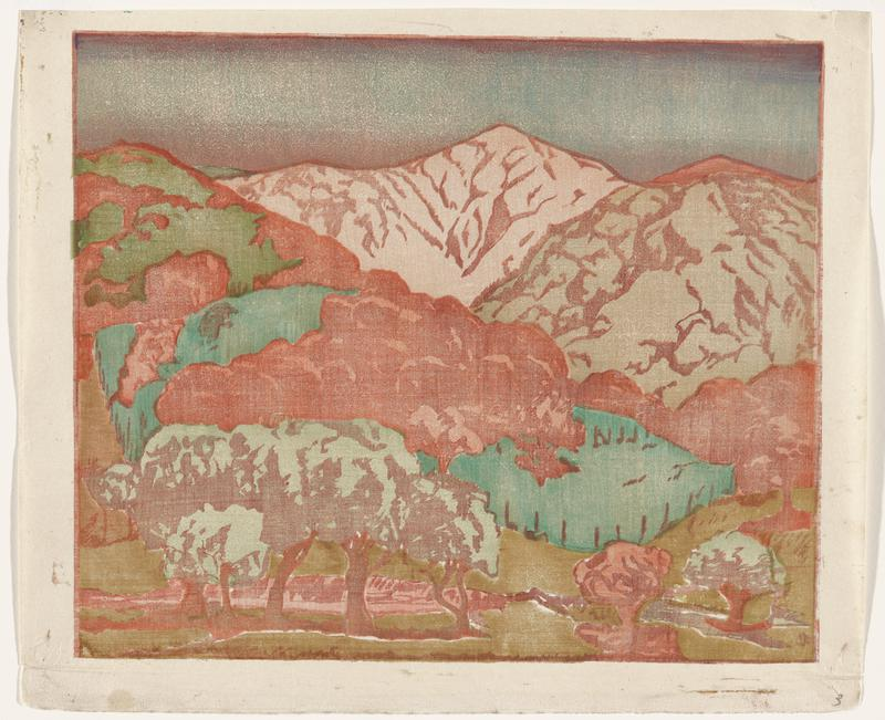 landscape with mountains, with light pink, green and red rocky hills on top; green bodies of water in LRC and in center left; row of trees along bottom of image; blue-lavender gradated sky
