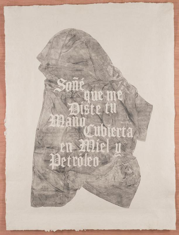 "image of a flattened shirt in gray pigment; ornate text reads ""Soñé que me Diste tu Mano Cubierta en Miel y Petróleo"" on shirt"