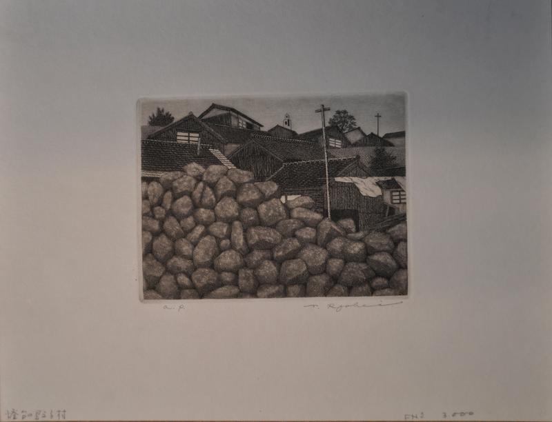 pile of rocks; tile roofs