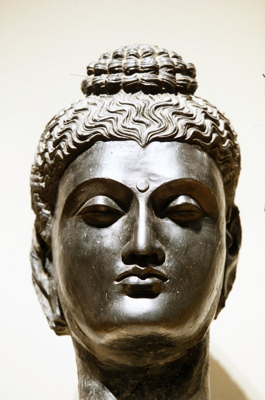 Anonymous, 'Head of Buddha', dark gray schist (with travertine marble base), Indian II-IIIc cat. card dims H 17-1/2';