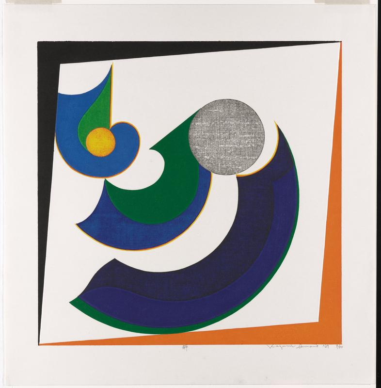 """colorful abstract; blue and green upside-down """"P"""" shape at ULC with yellow and orange circle at its center; curved green and blue shape and curved blue and black shape, both on diagonal, with orange and yellow outlines near C; gray circle URQ; framed by black border at L and top, and orange border at R and bottom"""