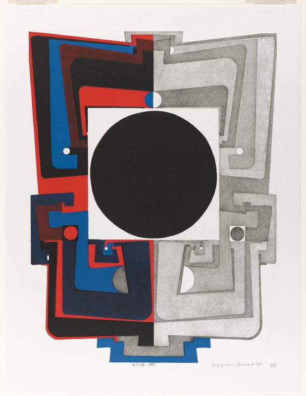 large black circle at C in a square frame that is blue and red on L, and shades of gray on R; frame is formed of interlocking geometric shapes
