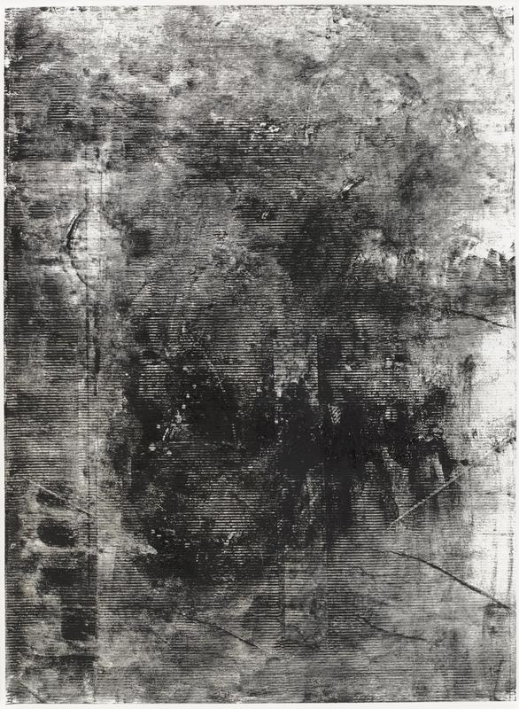 abstract black-and-white mixed media drawing; horizontal lines throughout dense black; several diagonal lines at bottom; light vertical impression of line on L with outline of oval at UL