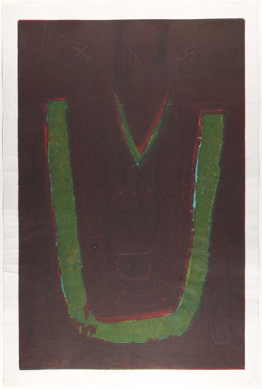 large green U shape with smaller green V shape at top opening, on dark burgundy background; three Xs embossed at top and U shaped lines embossed inside green U