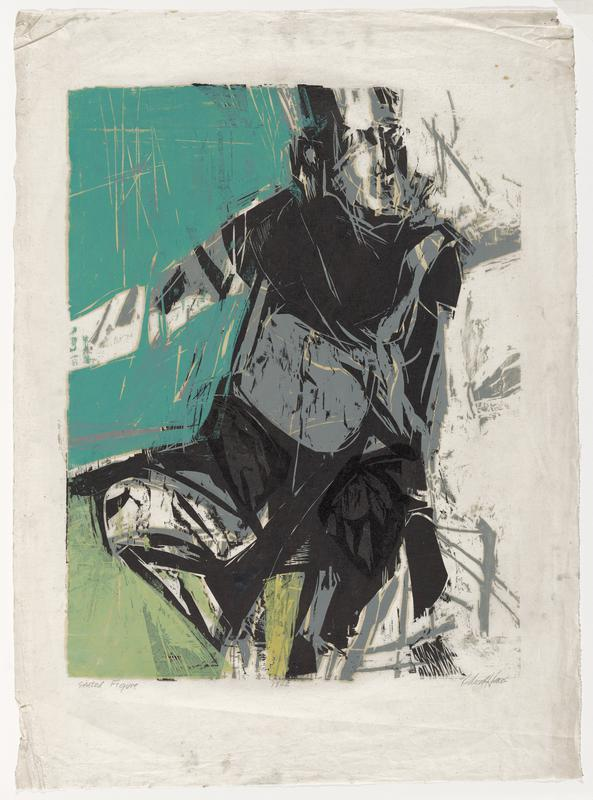 abstract figure in black, gray, and white seated at R; teal upper background, lime green lower background