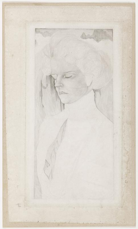 sketched portrait of frowning woman with closed eyes; face is drawn in detail, body and background are incomplete
