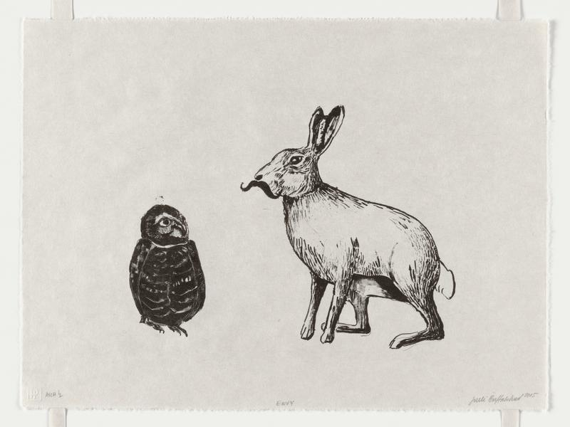 Stone lithograph printed in black depicting an owl and a rabbit with a mustache.