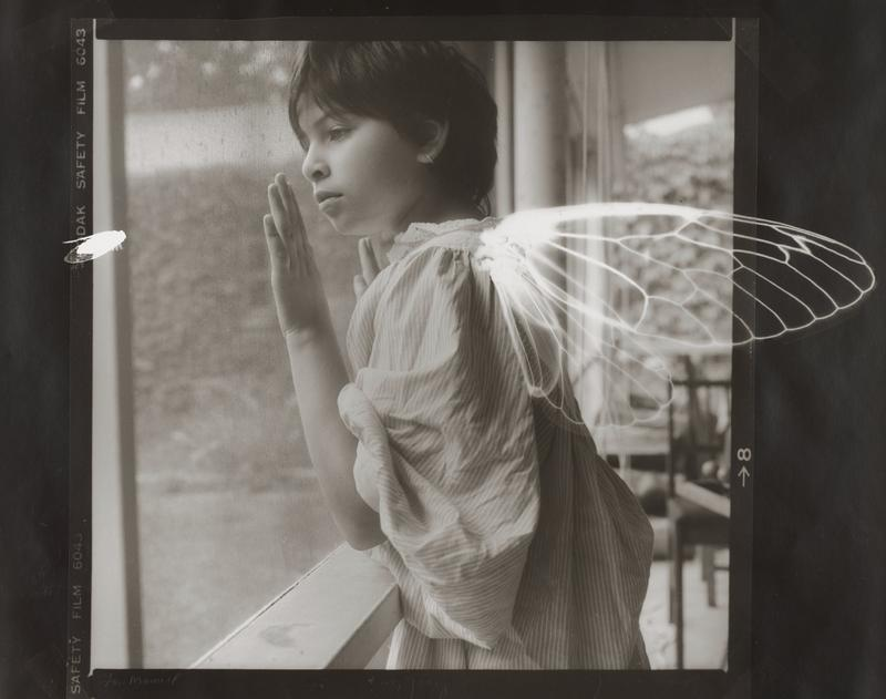 black and white image of a little girl with short dark hair wearing a striped dress and a hoop earring, in profile from PL, looking out a window with her hands on the screen; white outline of butterfly wings on girl's back; white silhouette of an insect at left edge of image; received matted in light grey mat