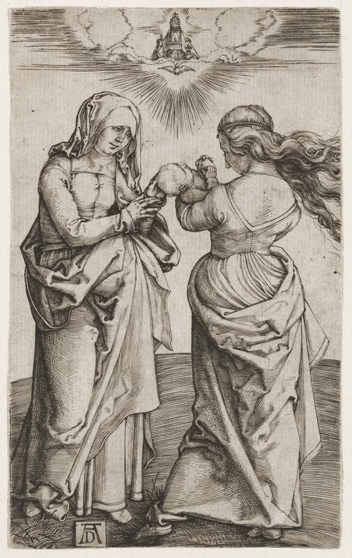 black and white image; two standing figures, R figure with backwards facing, holding an infant in her arms; R figure wearing veil, reaching out to touch infant's head; small, bearded figure in top C, PR hand raised in blessing; print is mounted on white sheet