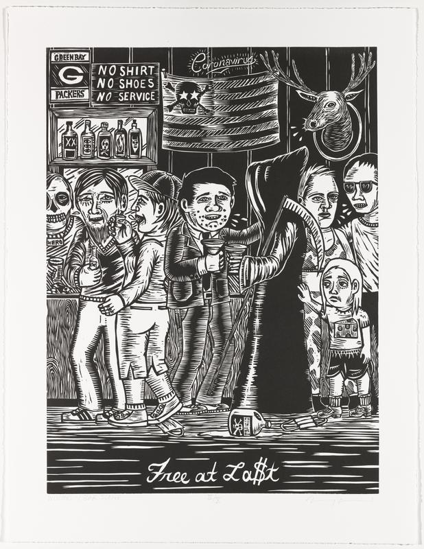 """printed in black; Grim Reaper toasting with a man wearing a suit at center; frowning little girl with a slice of cheese on the front of her shirt at right, touching Grim Reaper's back; two standing drinking men at left at a bar with a skeleton bartender wearing pendant printed, """"HERO""""; American flag at top center with skull and crossbones with star eyes in place of stars; face masks and bottle of poison on floor; """"Free at La$t"""" in cursive at bottom center of image"""