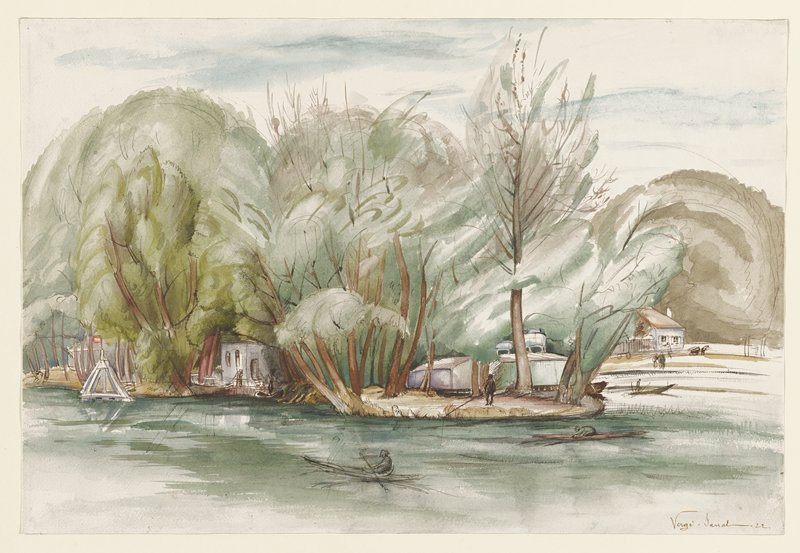 Landscape with person in a boat, foreground, trees and buildings behind