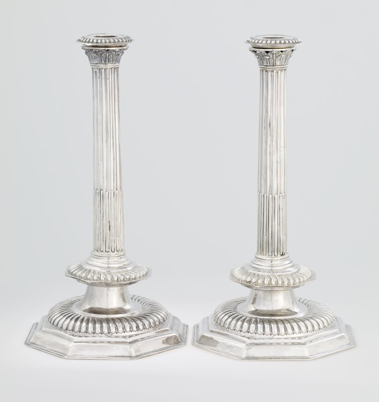 A pair of rare large sized William and Mary candlesticks