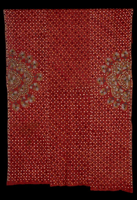 Pulchari (woman's veil); dull red embroidered with all-over star design and semi-circular floral designs at sides.