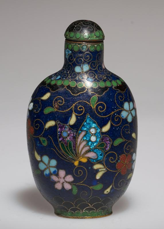 snuff bottle; cloisonne; blue; cloisonne top. (27.1.76 and 27.1.77 are a pair)
