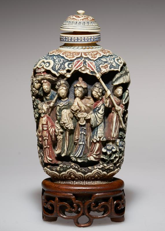 ivory, deeply cut; ivory top; beautifully colored and carved; figure of a Princess in the center of group on one side