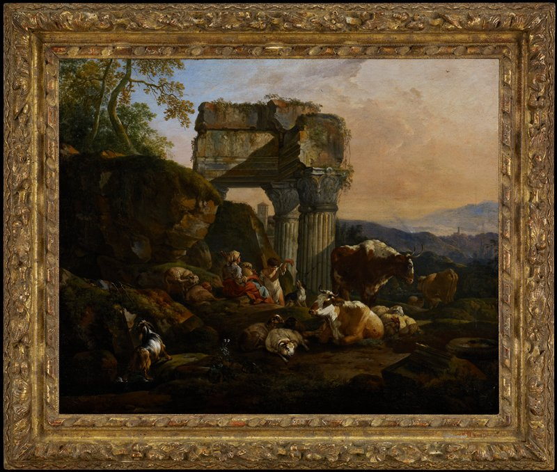 Landscape depicting the ruins of the Temple of Vespasian.