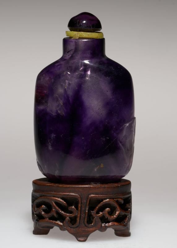 Snuff Bottle, Amethyst. Amethyst top. Carved Scene.