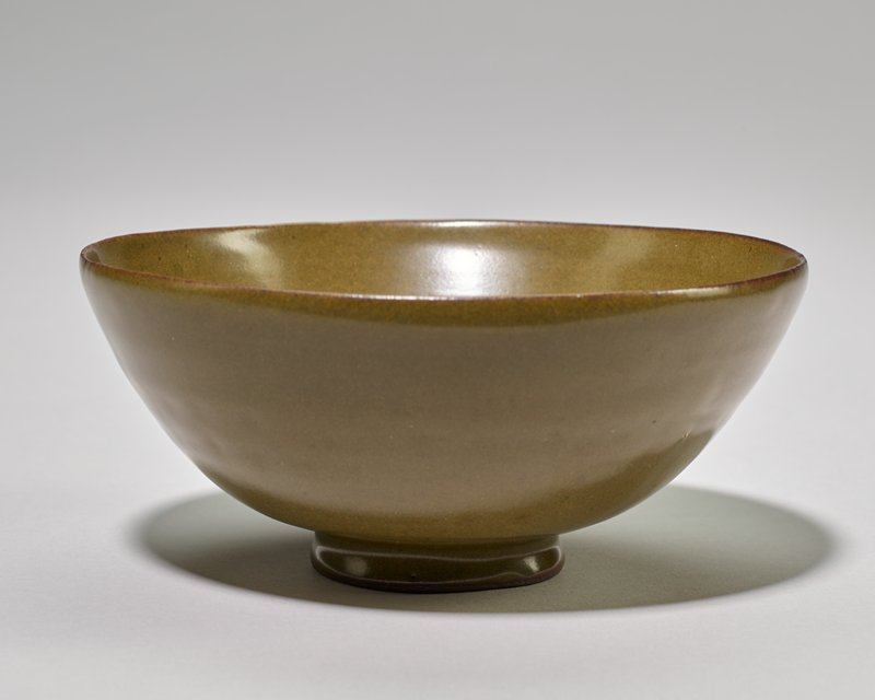 Bowl, small, brownish-green glaze. Undecorated.