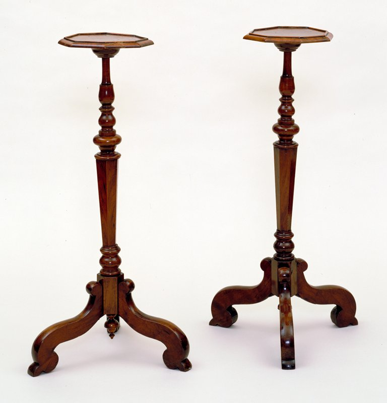 candlestands, pair of, octagonal with baluster shafts and tripod of single-scrolled legs; walnut veneered