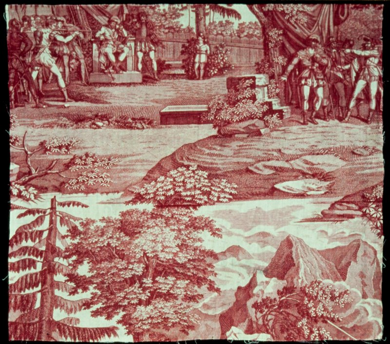 Toile, fragment, printed in rose with two scenes from William Tell and bold mountain views.