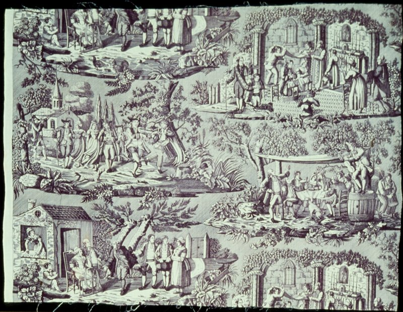 Toile, fragment, printed in mauve with four scenes of a rustic wedding: introducing the bride; the marriage; the wedding dance; and the wedding feast. Signed, below dance scene: Delmes Deliniavit et Sculpsit.