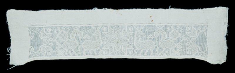 Strip of linen, drawn-work, pattern of animals. (Sjoeland).