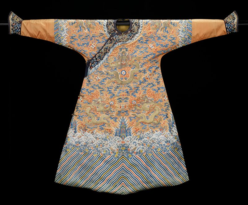 Imperial orange satin robe embroidered with nine gold five-clawed dragons, and double-peach and bat motifs in rose, blue, henna, green, etc. satin stitch.