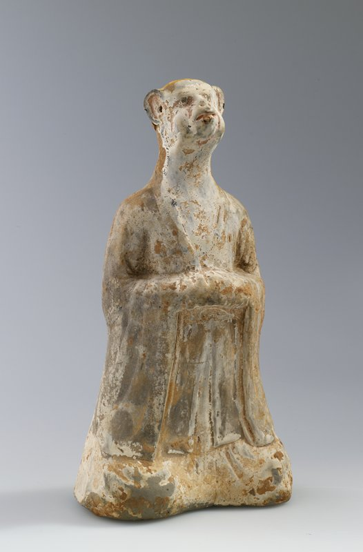 Zodiacal figure in form of man with head of ape. Representing God of the Constellation shen. Grey earthenware with white ground. Painted with flesh-coloured.