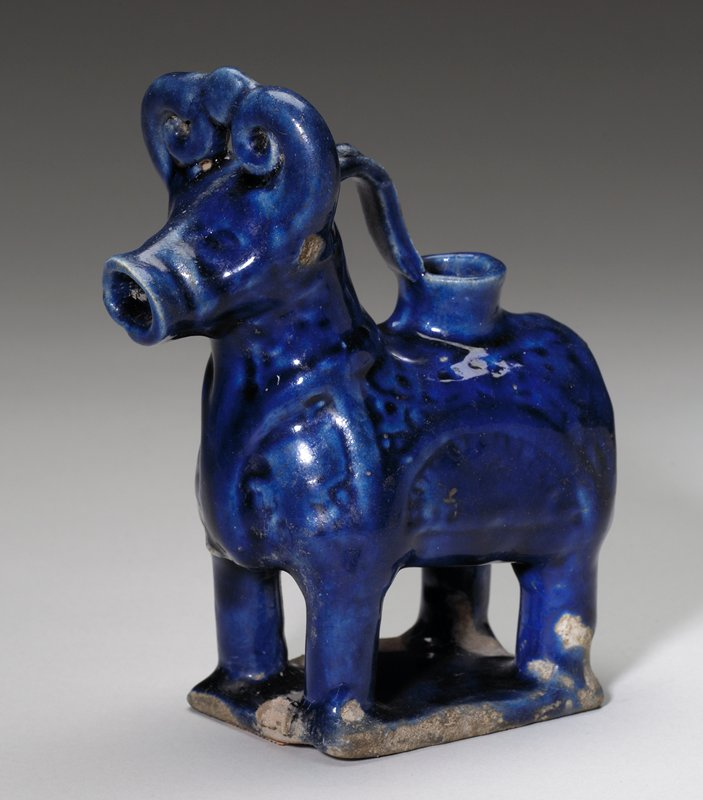 Aquamanile, relief decoration under lapis lazuli blue glaze. Same as shape .451