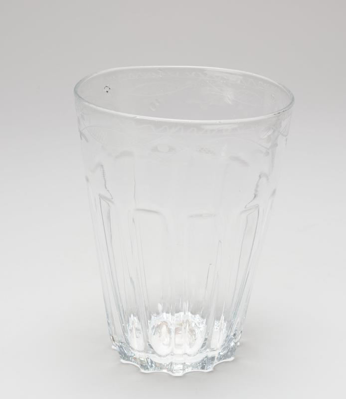 water glass-tumbler, etched glass
