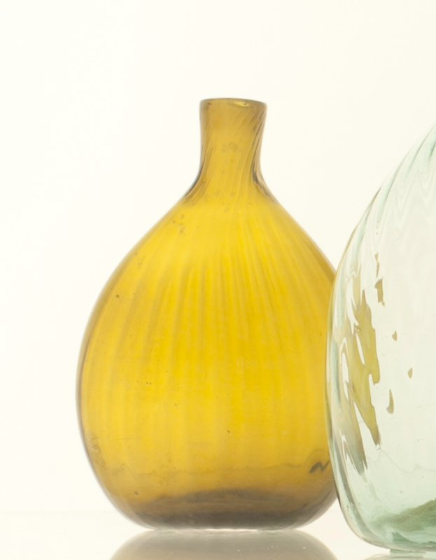 bottle-flask, green colored glass