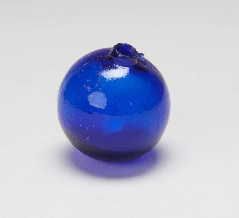 ball, blue colored glass; measured on stand (should it be numbered'b'?) cat. card dims H 2-3/4 x diam 2-3/4'