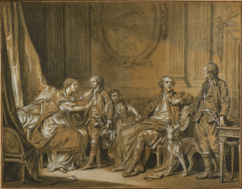 five figures and a dog in an interior