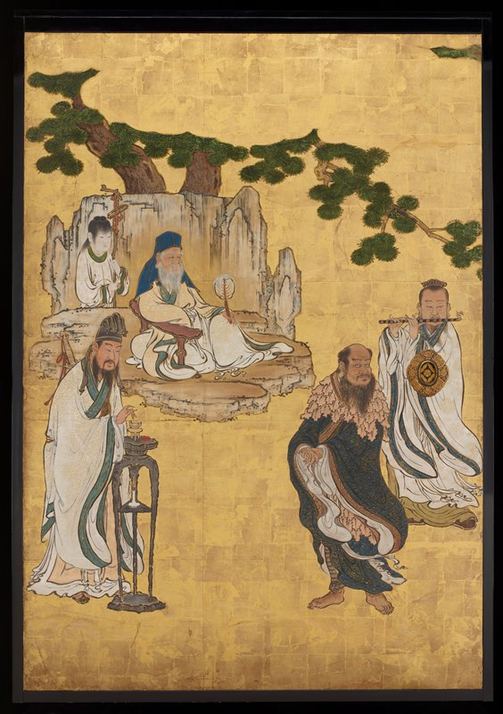 Set of four sliding door panels with decoration of Chinese Immortals