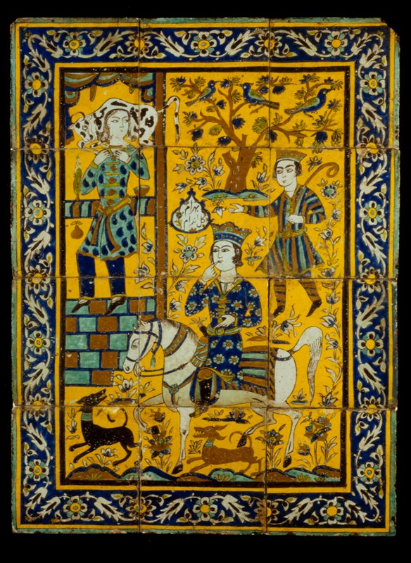 Tiled Painting Depicting the Story of Bahram Gur and Fitna from the Book of Kings. Twelve tiles mounted together