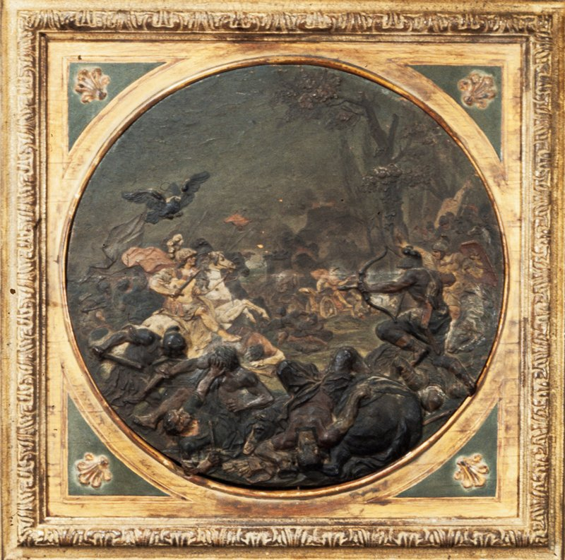 'Victory of Alexander Over Darius', sculpture, painted wax relief, Italian XVIIc cat. card dims 17-1/2', stored lying down.