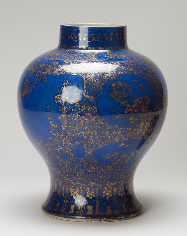 pair of temple jars, blue with gold decoration, teakwood covers and bases