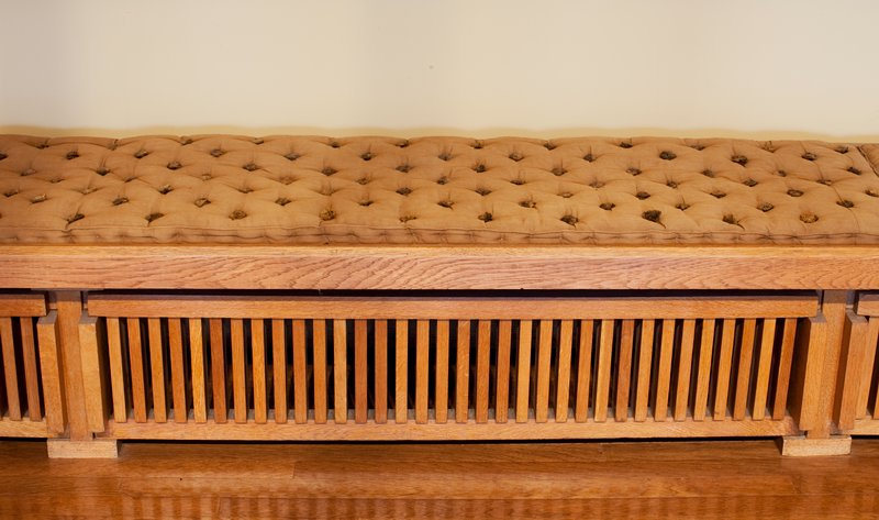 Window bench top from Frank Lloyd Wright Little House, wood stored on side; cat. card dims 2-1/2 x 225 x 19'