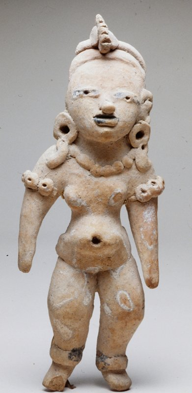 Female Figure wearing a necklace and ear ornaments, with a headdress with cockscomb-like ornament, part of which is broken away; burnished tan ceramic, earthenware, Mexico, Veracruz, Huaztec, 400-800AD