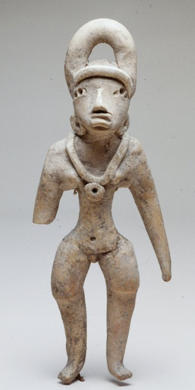 Female Figure wearing necklace with a circular pendant and circular ear ornaments and a U-shaped headdress; burnished tan ceramics; H. 8-3/4 in.
