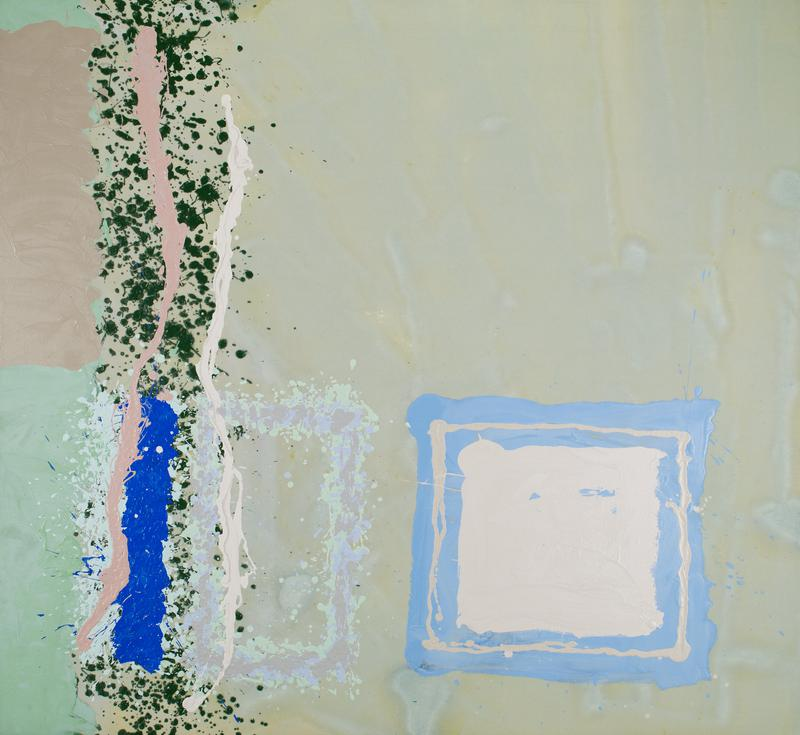 Abstraction. Vertical band of splatters on left, with solid square in lower right.