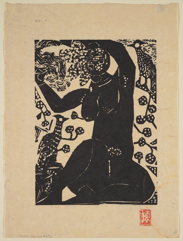 black and white print; nude female sitting with arms overhead, holding her hair; one bird LLQ, one bird URQ